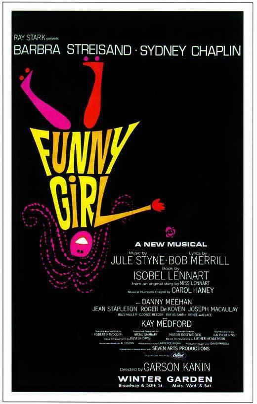 FUNNY GIRL (BROADWAY) Barbra Streisand <font><b>Sydney</b></font> Chaplin SILK POSTER Decorative painting image