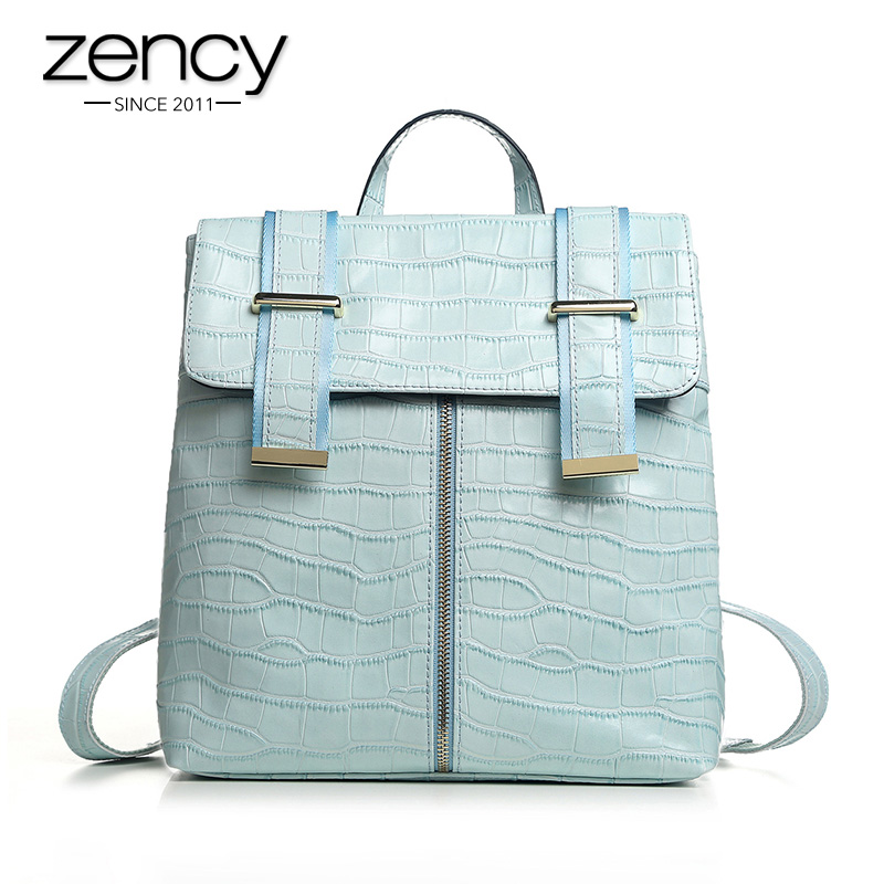 2017 Fashion Summer Crocodile Split Leather Practical Women Backpack Preppy Style Schoolbags For Girls Ladies Travel