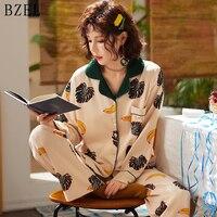 BZEL Cotton Pajamas Sets Long Sleeve Sleepwear Turn down Collar Sleep Lounge Casual Pijama Mujer Cartoon Pyjamas Women Underwear