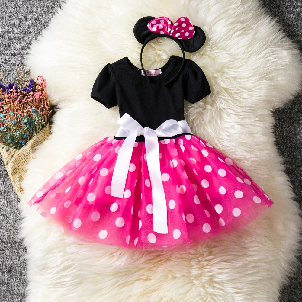 New Kids Dresses for Girls Party Wear Costume Toddlers Infant Clothing Polka Dot Baby Clothes Birthday Tutu Dress with Headband