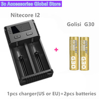 Golisi 2pcs G30 IMR 18650 3000mah MAX 30A E CIG rechargeable battery for VAPE with Nitecore New I2 Digi charger LCD Intelligent