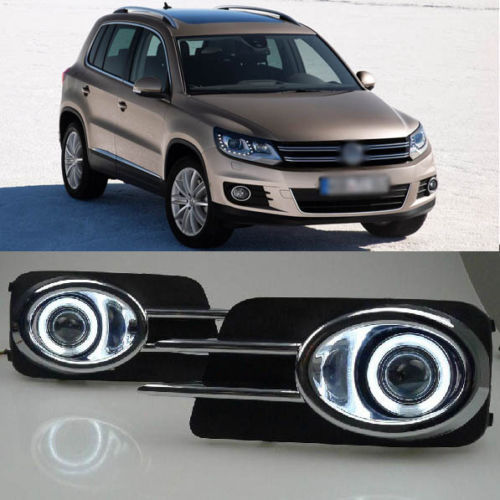 Ownsun Chrome Claw Super COB Angel Eye Fog Light Projector Lens for Volkswagen Tiguan ownsun superb u shape led headlight angel eye projector lens for vw tiguan 2010 2012 model