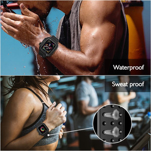 Image 3 - Silicone Waterproof Sport Case for Apple Watch Band 38mm 42mm 40mm 44mm Breathable Bracelet Strap for iWatch Series SE/6/5/4/3/2