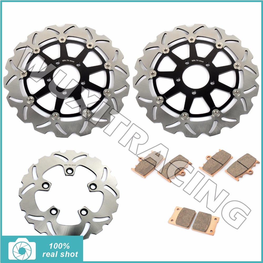 320mm full set front rear brake discs rotors sintered pads for suzuki gsxr600 gsxr750 gsxr