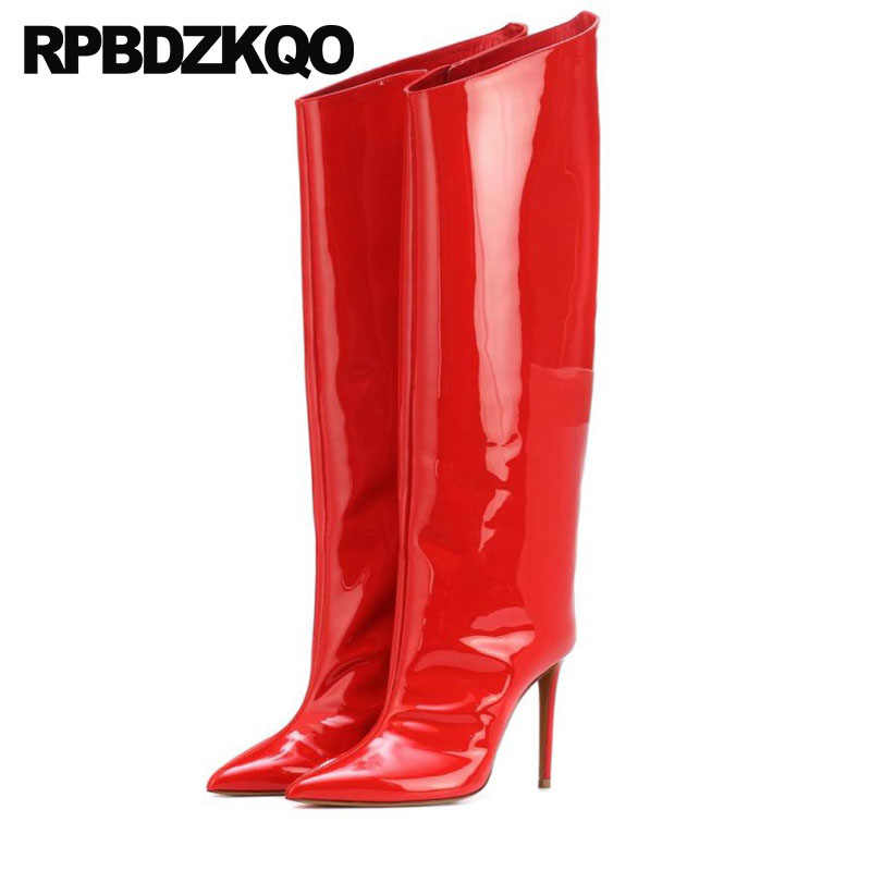 022c70bf0e2 pointed toe knee high 13 45 heel red wide calf 12 44 patent leather luxury  brand