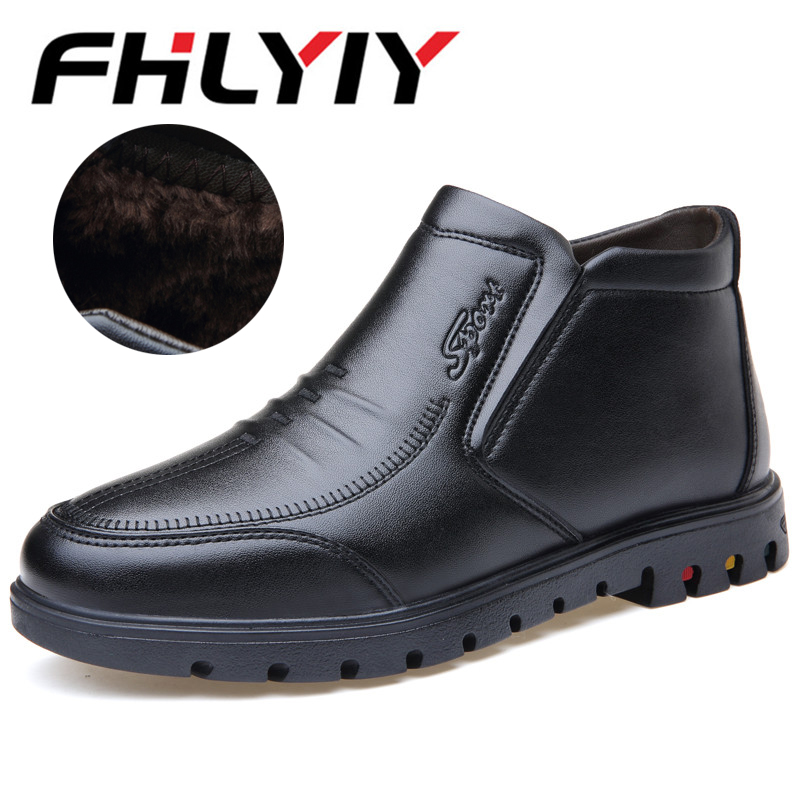 New Classic Men Boots Shoes Winter Warm Fur Snow Boots Men Slip On Shoes Boot Non-Slip High Quality Outdoor Shoes Zapatos De mulinsen brand new winter men sports hiking shoes cowhide inside keep warm sport shoes wear non slip outdoor sneaker 250666