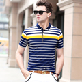 2017 summer cotton top-grade business men polo shirts/Male lapel tide leisure striped polo shirts Large size S - XXXL
