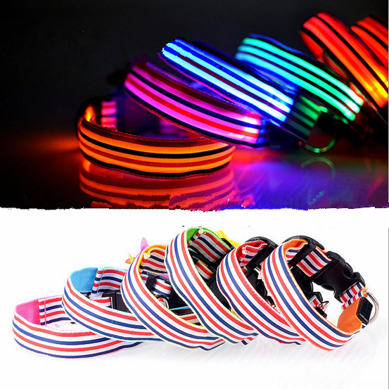 Specials! ! ! CWYP-26 luminous small pet traction dog collar, S, M, L, XL LED light-emitting collars, dog harness, pet shop