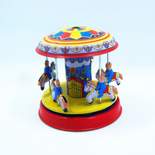 Children Mini vintage merry-go-round Tin Toys Friction Kids Childhood Classic Wind Up Clockwork Tin Toy Collection oyuncak W228