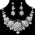 Bridal Crystal Rhinestone Wedding necklace and earring sets Jewelry Womens Jewellery Vintage Crystal Pendant Accessories