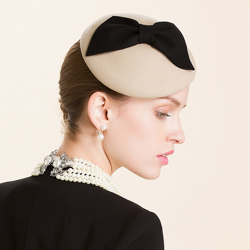 815c4d30 New Camel Bow Ladies Beret Women Felt Wool Fascinators Cocktail Wedding  Church Pillbox Hat Party Wedding A317 -in Fedoras from Apparel Accessories  on ...