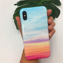 Cyato Fashion Rainbow Marble Case For iPhone X 7 Cover Colorful Soft TPU Coque 8 Cell Film Capa fundas