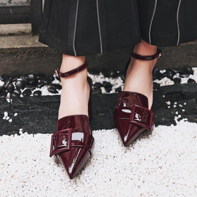 5a1227c9be7428 Mode Mules Femmes Ponited Pompes Verni Bride La Escarpins Talons Cheville  As Cuir Orteil Boucle Hauts En Chaussures Show Sandales ...