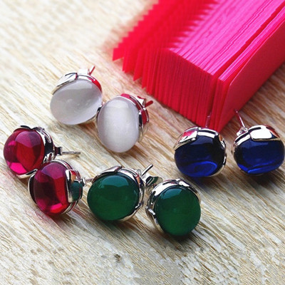 Earring Studs With Natural Stones Red White Green Blue Stone Earrings 925 Sterling Silver Jewelry For