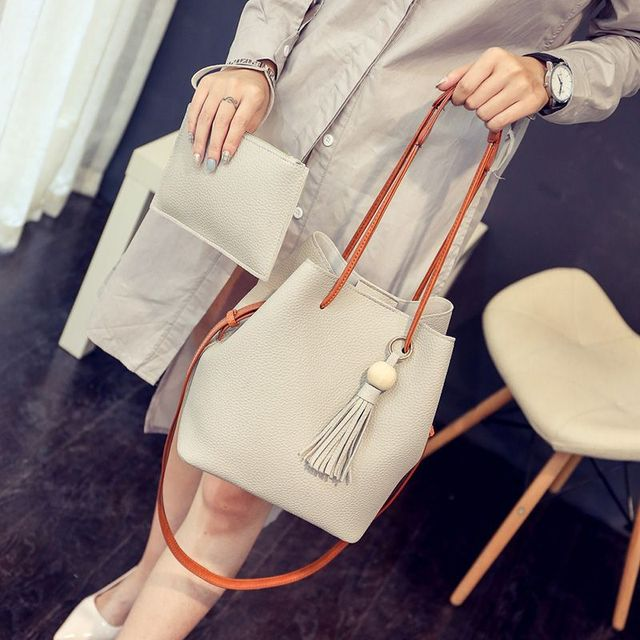 PU Leather Shoulder Sling Bags for Women Drawstring Handbags Composite Ladies Small Crossbody Bucket Bags 2