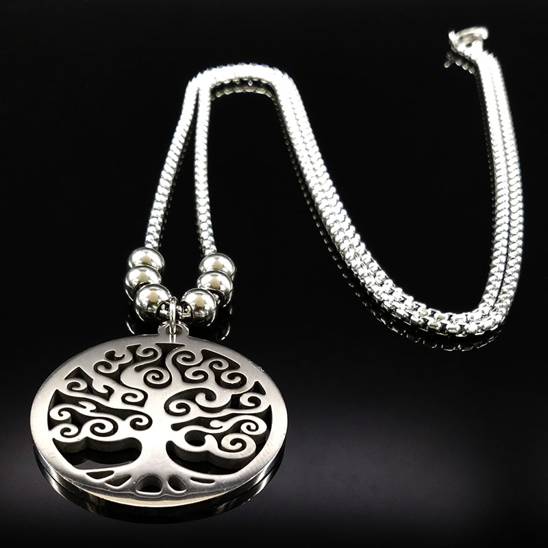 Tree of Life halsband kvinnor och män anpassade etniska rostfritt stål kedja halsband och hängande bohemiska smycken Maxi Colar