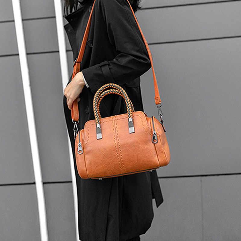 Европейская Новинка Ретро женская сумка-тоут женская сумка Бостон с заклепками женские кожаные сумки-мессенджеры подушка сумка на плечо винтажная C809