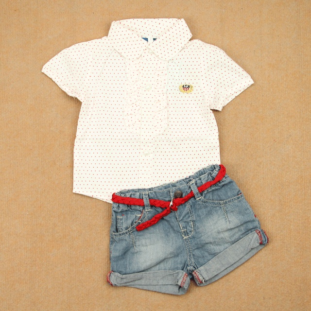 Small fresh all-match princess summer thin 100% cotton short-sleeve clothing girls polka dot white shirt