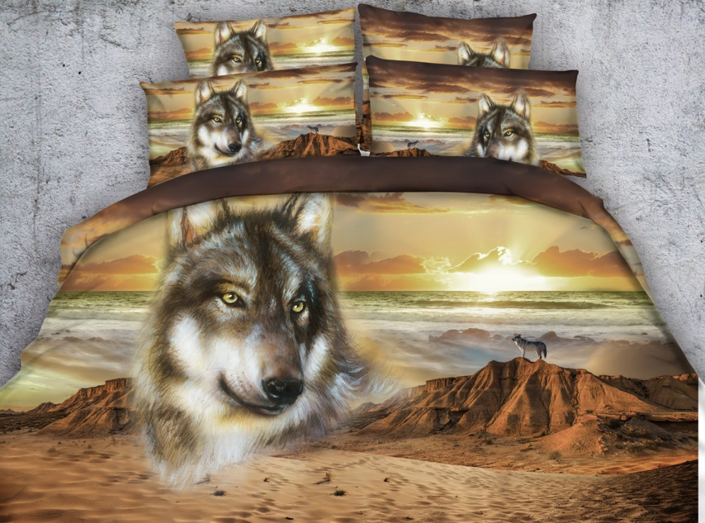 3d Sand Wolf Comforter Set Desert Animal Print Bedding