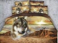 3D Zand Wolf Dekbed set Desert Animal print Beddengoed quilt dekbed cover laken linnen sprei Cal kingsize koningin twin 5 STKS