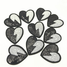 100pcs Wholesale Sequin Love Heart Embroidery Patches For Clothing Cute Motif Iron On Patch DIY Badge Garment Decoration