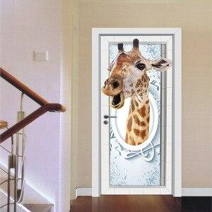 Image 1 - Jirafa tiburón ciervo dinosaurio Animal creativo puerta pegatina de pared impermeable papel de pared DIY Poster autoadhesivo decoración del hogar