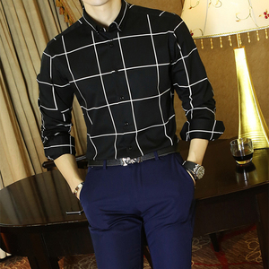 Image 3 - Männer Große Plaid und Überprüfen Pflegeleicht Baumwolle Hemd Lange Sleeve Standard fit Taste Unten Kragen Casual gingham Shirts