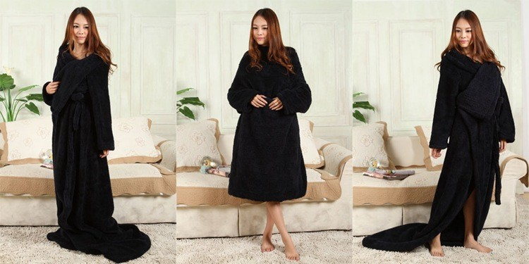 New Thicker Spring/Autumn Winter Warm Wearable Burgundy Snuggie Fleece Blanket with Sleeves seen on TV Sofa Blanket big Bathrobe