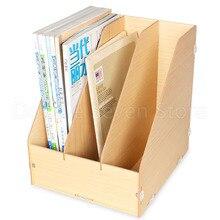 Wooden Vertical document magazine management storage box desktop office finishing 3 grid multi cell book rack shop display
