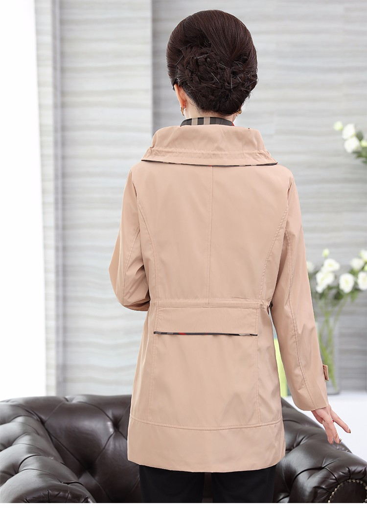 British Style Woman Beige Trench Coat Red Black Overcoat Middle Aged Women\'s Casual Trench Lady Casual Duster Coats 40s 50s 60s Windbreakers (17)