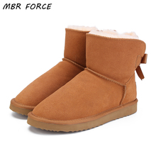 MBR FORCE Fashionable Women Warm Snow Boots Winter Boots Genuine Cowhide Leather Women Boots Ankle Boots Fur  Shoes Size 34-44 mbr force high quality women natural real fox fur snow boots genuine leather fashion women boots warm female winter shoes ship
