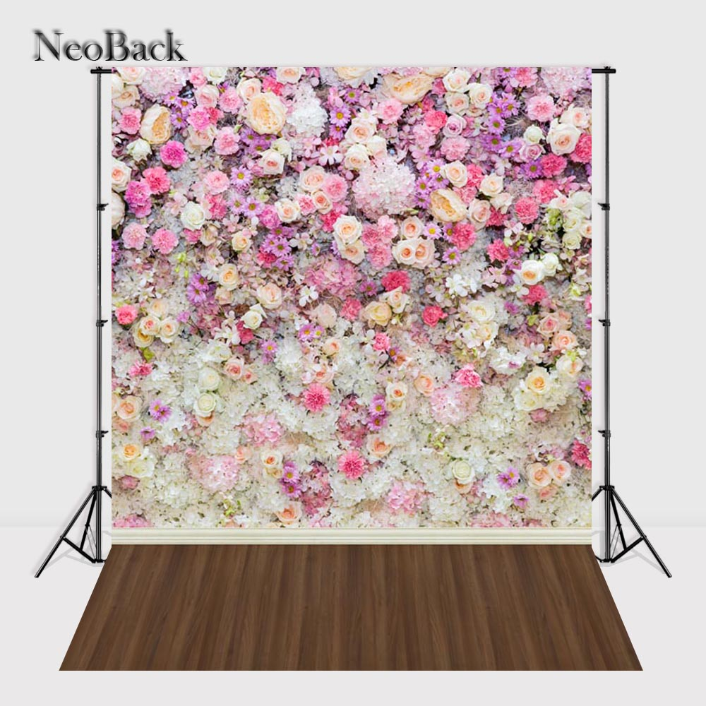 NeoBack 5x7ft Vinyl Cloth Floral Wall Wedding Photo backgrounds Printed Children Kids Photo Backdrops P0746