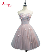 Jark Tozr Custom Made Beautiful Graduation dresses 2018 Shiny Beading Flowers Lace Tulle Above Knee Mini Homecoming Dresses
