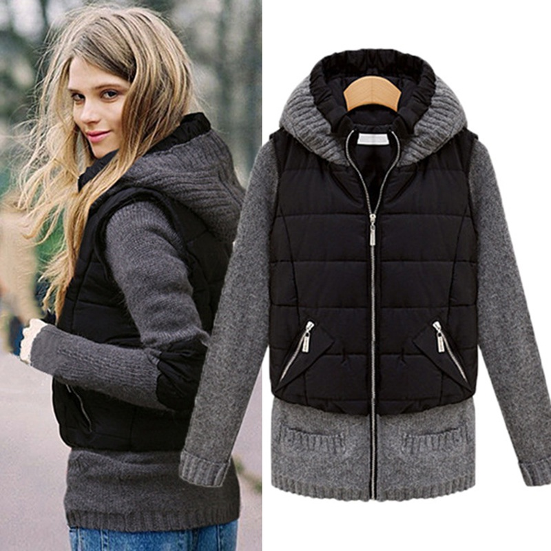 Female feather cotton coat fake two sets of thickening cotton jacket jacket warm font b clothing