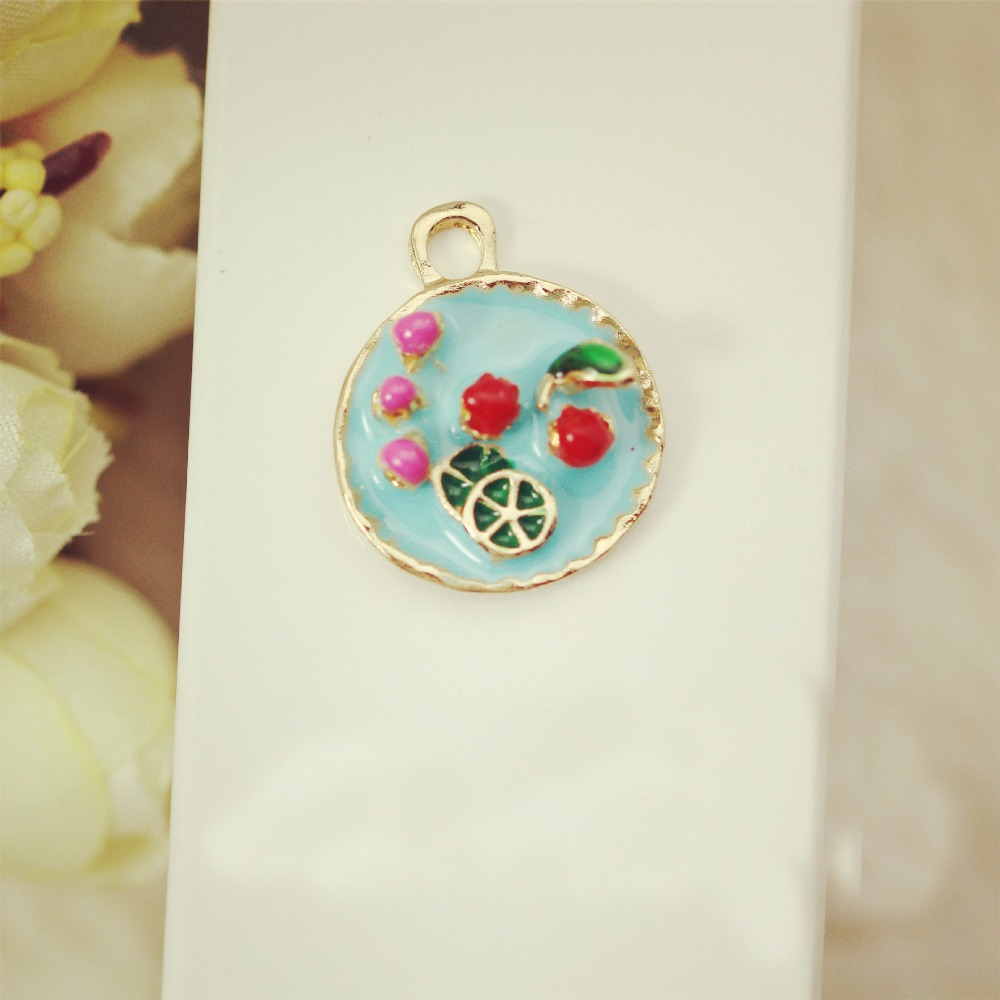 DIY Fashion enamel charm fruit platter metal charm for jewelry making Pendants floating charms Key Chains as jewelry Accessories