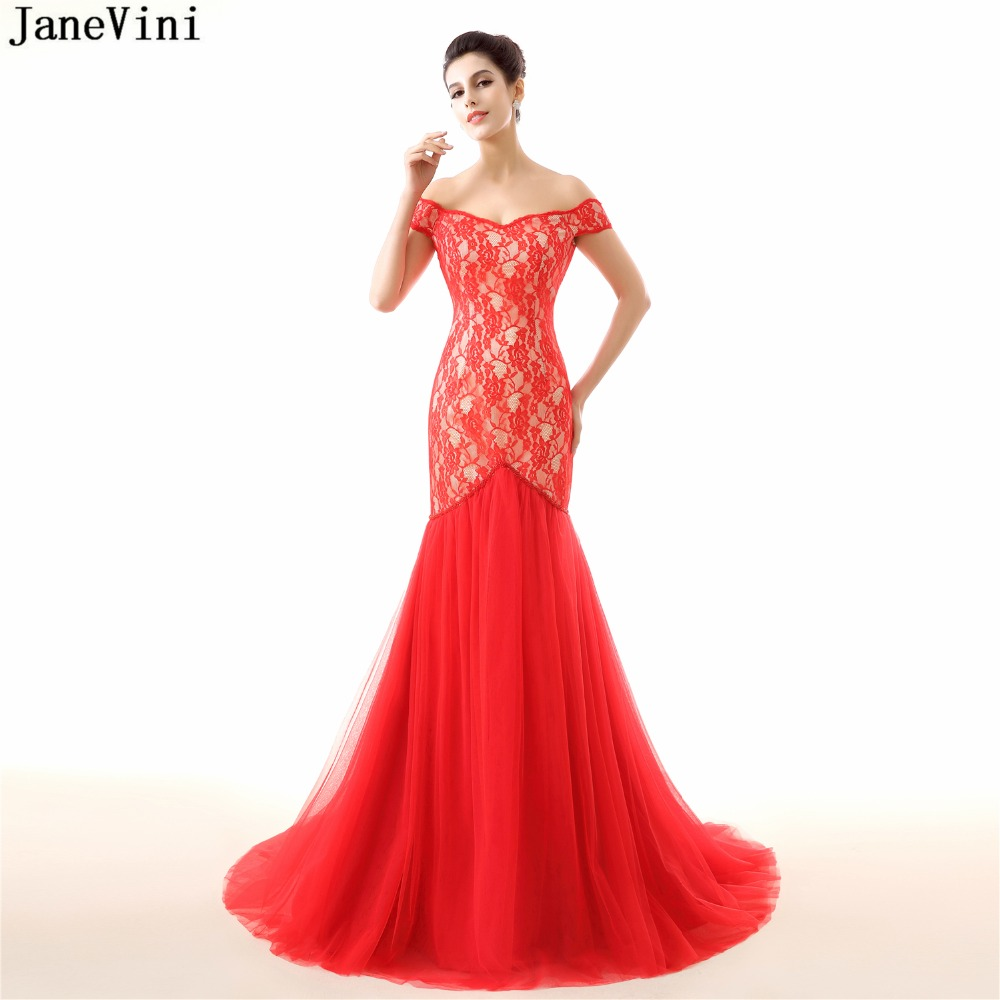 JaneVini Elegant Red Lace Mermaid   Bridesmaid     Dresses   Off the Shoulder Beading Backless Tulle Sweep Train Dubai Arabic Prom Gowns