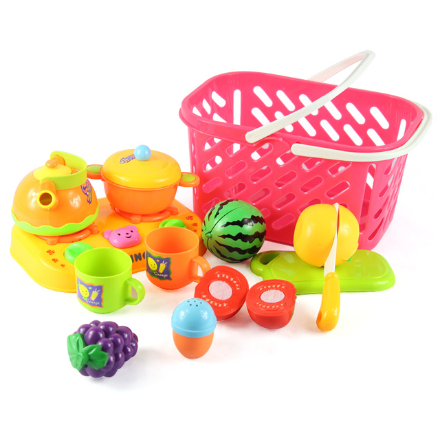 Plastic Vegetable And Cut Fruit Kitchen Toys For Girls Kitchen Play Set Toy Food Children Kid Cooking Cet