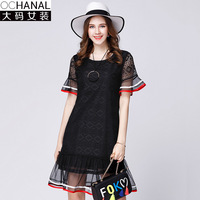 2017 Women Summer New Loose Thin Lace Dresses Splicing Large Size Flare Short Sleeve Sees Though