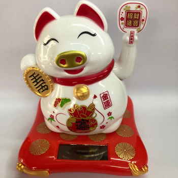 Beckoning Solar Powered Lucky Pig, No Battery Piggy Car Ornament, Cafe Bar Shop Store Decorations image