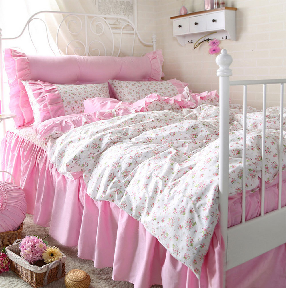 Fashion Cute Flower Bedding Set Teen Girl,twin Full Queen King Cotton  Single Double Bedclothes Bedspread Pillow Case Duvet Cover In Bedding Sets  From Home ...