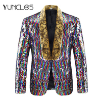 YUNCLOS 2018 Men's Colorful Laser Sequin Party Blazer Slim Fit Party Suit Jackets High Quality Blazer Jackets americana hombr