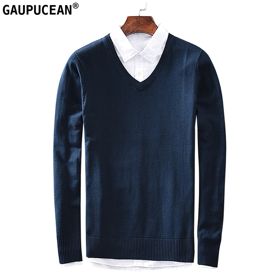 100% Cotton Anti-static Anti-pilling Soft Man Long Sleeve Full Knitted Pullover Solid Navy Blue Knitwear V-Neck Men Sweater