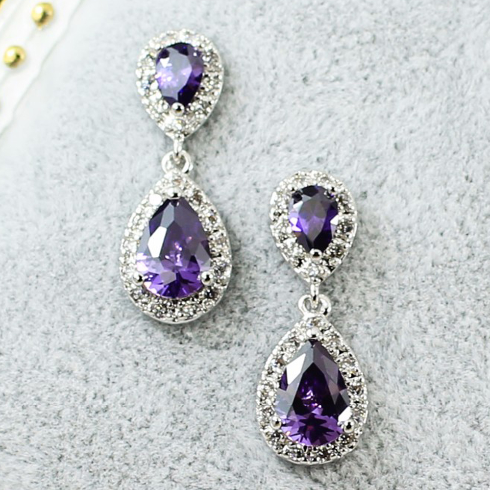 Vintage drop earrings cz purple earings fashion long Vintage style fashion rings