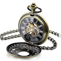 Steampunk Skeleton Mechanical Bronze Pocket Watch Men Vintage Hand Wind Clock Necklace Pocket & Fob Watches With Chain