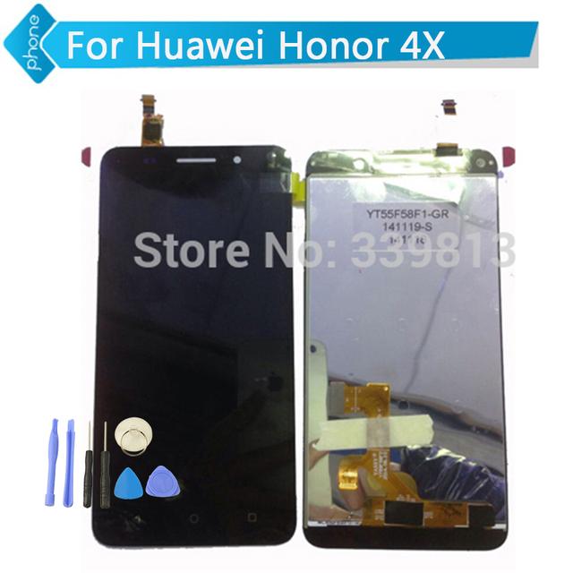 Para huawei honor 4x display lcd touch screen digitador assembléia preto ouro branco + ferramentas