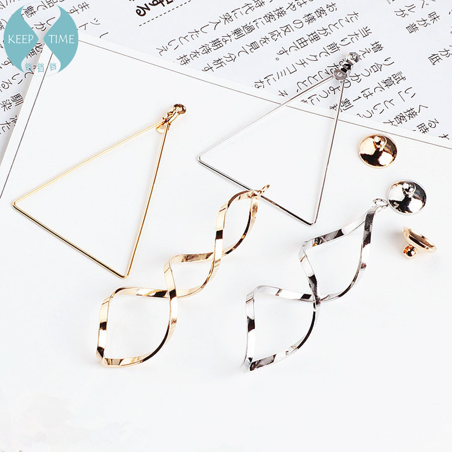 DIY Handmade Jewelry Accessories Plating Really Golden Triangle Frame Helical Circle Earrings  Pendant Cover Material