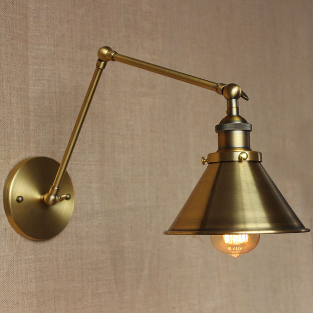 Classical gold color indoor lighting Wall Sconces iron long double arm adjustable study room bedside restaurant & Classical gold color indoor lighting Wall Sconces iron long double ...