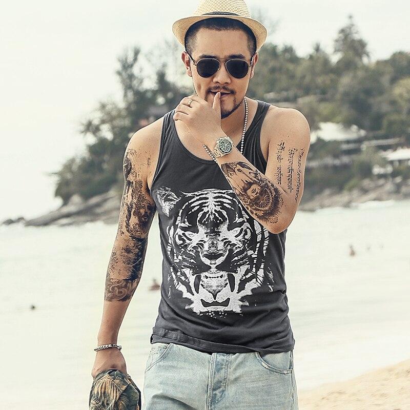 Men Summer Slim Fit Hip Hop Casual Printed Tiger New Beach Tank Tops Men O Neck Quick Dry Undershirt Sleeveless SingletsT646