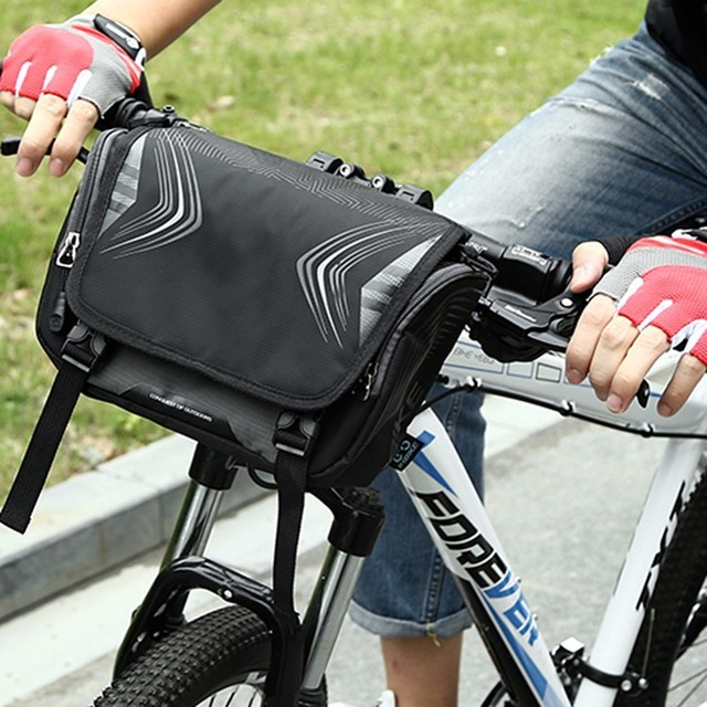 Waterproof Bicycle Cycling Bag Pannier Front Tube Removable Foldable