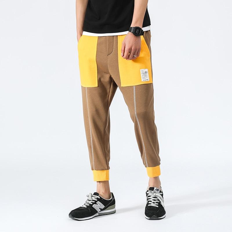 Plus Size Pants Men Elastic Waist Loose Harem Pants Casual Mid Waist Cotton Hip Hop Mens Joggers Patchwork Color Sweatpants 5XL
